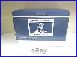 VINTAGE COLEMAN 54 QT METAL COOLER With RARE LIPTON HARRISBURG TEA ADVERTISING
