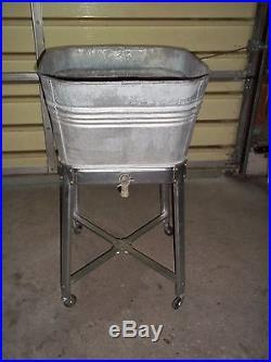 Metal Ice Chest Vintage Galvanized Single Wash Tub On Rolling