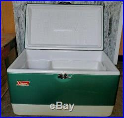 VINTAGE Green Coleman Metal Ice Chest Cooler Snow Lite SNOWLITE Original Box +