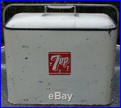 VINTAGE PROGRESS REFRIGERATION 7-UP SODA BOTTLE BEER ICE METAL COOLER With OPENER