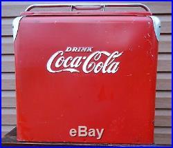 Vintage Progress Refrigeration Coca-cola Advertising Metal Cooler With Tray