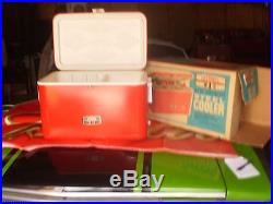 Vintage Rare Red Thermos Metal Steel Cooler In Box With Tray 43 Qt Model 7750m45