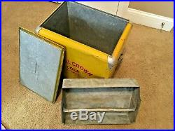 VINTAGE ROYAL CROWN COLA METAL COOLER with Metal Tray and Stainless Steel Handle