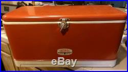 VINTAGE THERMOS DELUXE COOLER ICE CHEST With BOTTLE OPENER HANDLES METAL BODY 54QT