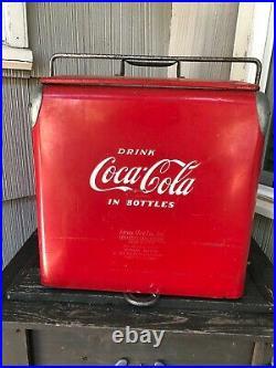 VTG 1950's Original Coke Coca Cola Metal Cooler with Lid Tray Bottle Opener Drain