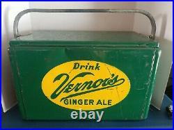 (VTG) 1950s vernors ginger ale soda pop metal picnic cooler advertising