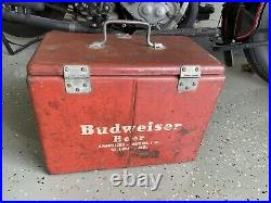 Very Rare Antique 1950s Budweiser Vintage Red Metal Beer Party Cooler