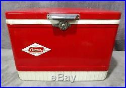 Vintage 02/1965 Coleman Diamond Label Red 14-Gallon Snow Lite Cooler Model 5215B