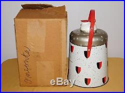 Vintage 11 1/2 High Poloron King Kooler Metal Picnic Jug Cooler In Box