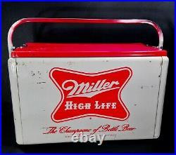 Vintage 1950-60 Miller Beer Metal Advertising Cooler With Paperwork LOOK & READ