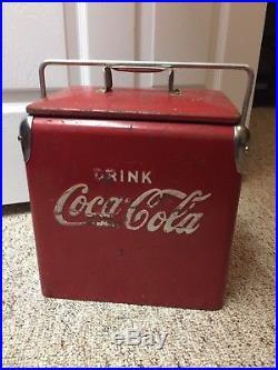 Vintage 1950 Embossed Coca Cola Coke Logo Metal 6 Pack Size Cooler Ice Chest
