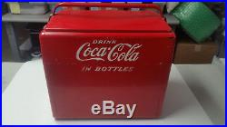 Vintage 1950's Coca Cola Cavalier Soda Picnic Cooler Embossed Metal Sign