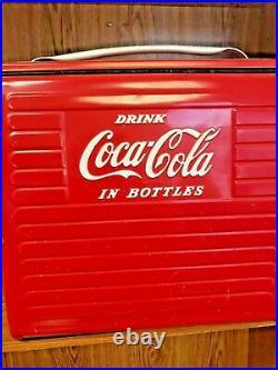 Vintage 1950's Coca Cola Metal Junior Picnic Cooler. PRICE REDUCED
