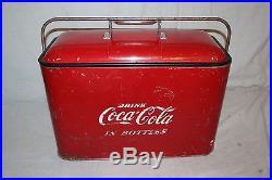 Vintage 1950's Coca Cola Soda Pop Bottle 19 Embossed Metal Picnic Cooler Sign
