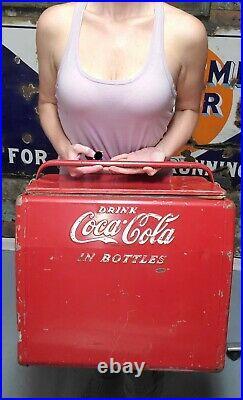 Vintage 1950's Coca Cola in Bottles Metal Cooler Cavalier with Bottle Opener