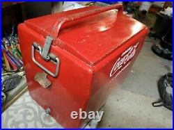 Vintage 1950's Coca Cola in Bottles Metal Cooler Product of Cavalier, 18x16x13