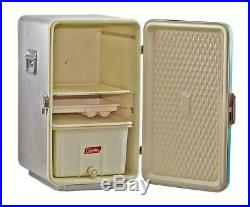 Vintage 1950's Diamond COLEMAN Robin Egg Blue Upright Aluminum Cooler with inserts