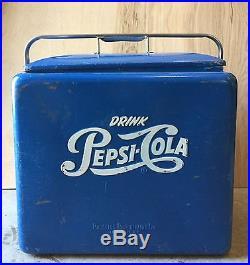 Metal Ice Chest | Vintage 1950's Drink COCA COLA Blue Metal Cooler