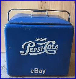 Metal Ice Chest | Vintage 1950's Drink COCA COLA Blue Metal