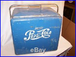 Vintage 1950's'Drink Pepsi Cola' Blue Metal Cooler (Complete)