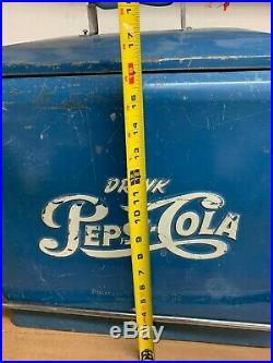 Vintage 1950's Drink Pepsi Cola Blue Metal Cooler with Original Tray Progress Ref
