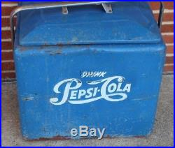 Vintage 1950's Drink Pepsi-Cola Metal Soda Cooler Baby Blue Original