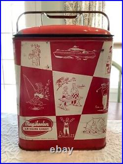 Vintage 1950's MAGIKOOLER LEISURE CHEST withTray Memphis, TN Camp Picnic Cooler
