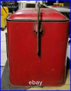 Vintage 1950's Original PLEASURE CHEST Soda Pop Cooler Coke Red Metal Ice Chest
