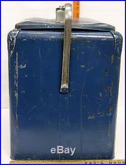 Vintage 1950's Pepsi-Cola Picnic Cooler Blue Metal +Tray & Bottle Opener +Drain