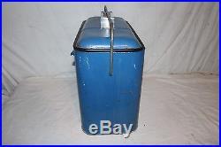 Vintage 1950's Pepsi Cola Soda Pop Embossed Metal Picnic Cooler Sign WithTray