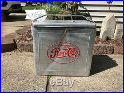 Vintage 1950's Pepsi Cola Soda Pop Picnic Cooler Embossed Metal Sign