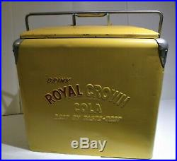 Vintage 1950's RC Royal Crown Cola Soda Pop Picnic Cooler Embossed Metal Sign
