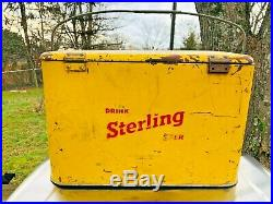 Vintage 1950's STERLING BEER Yellow Cooler Metal Insulated EVANSVILLE INDIANA
