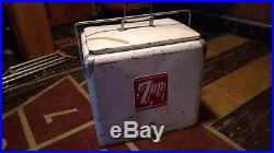 Vintage 1950s 7up cooler ice chest metal with tray ALL ORIGINAL CONDITION