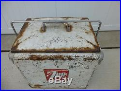 Vintage 1950s 7up cooler metal with tray
