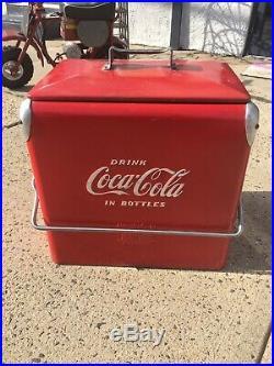 Vintage 1950s Coca Cola Coke Cooler Metal Ice Chest Cooler