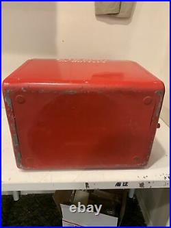 Vintage 1950s Metal Cavalier Coca-Cola Cooler With Opener, Tray, Plug