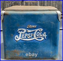 Vintage 1950s PEPSI COLA Blue Metal Cooler Ice Box Chest Original Paint