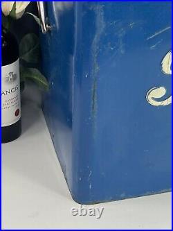 Vintage 1950s Pepsi Cola Blue Metal Picnic Cooler Ice Chest WithBottle Opener