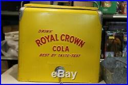 Vintage 1950s RC Royal Crown Cola Soda Pop Picnic Cooler Embossed Metal