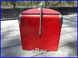 Vintage 1950s Red Metal Coca Cola Cooler Approx. 17 x 12 x 14 1/2 By Action