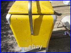 Vintage 1950s Royal Crown Cola Yellow Metal Cooler Ice Chest with Removable Tray