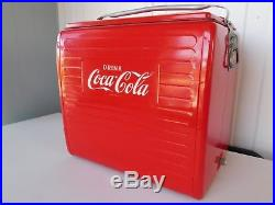 Vintage 1955 Coca Cola Picnic Cooler Tray St. Thomas Metal Sign Ice Chest Ex Cond
