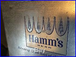 Vintage 1960's HAMM'S Beer Aluminum Metal Padded Cooler Ice Chest With Tray