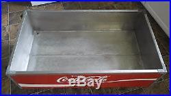 Vintage 1960's open metal cooler coca cola coke coffee table distressed MCM SODA