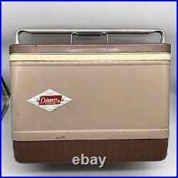 Vintage 1960s Coleman Cooler Beige/Brown Diamond Pattern 646
