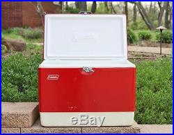 Vintage 1960s Red Metal COLEMAN Snow Lite Camping Cooler Ice Chest, Jug 5255-703