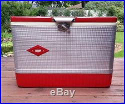 Vintage 1964 Red Metal Coleman Cooler/Ice Chest withSilver-Tin Diamond Wrap RARE