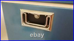 Vintage 1970's Blue Coleman Cooler Metal Camping Ice Chest Bottle Openers 28x16
