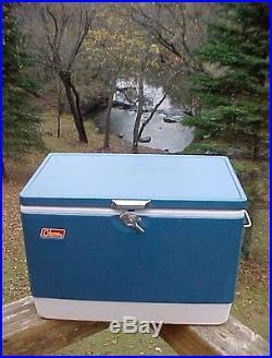 Vintage 1970's COLEMAN Blue METAL Cooler, opener spigot DIAMOND LOGO withBOX NICE